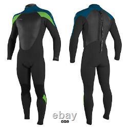 2020/21 O'Neill Epic 5X4MM Mens Back Zip Wetsuit, Black, Ultra Blue, Dayglow