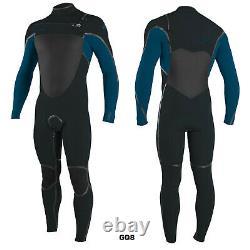 2020/21 O'Neill Psycho Tech 5/4MM Chest Zip Wetsuit Black Gunmetal Ultra Blue