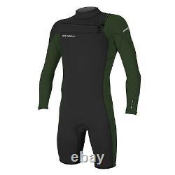 2021 Hammer 2mm chest zip Long Arm Mens Shorty wetsuit Dark Olive Black