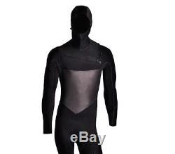 4/3 Chest Zip Full Body Wetsuit Black Hooded Zipper Super Stretch 4/3mm GBS New