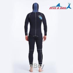 5mm Mens Hooded Diving Suit 2-Piece Sleeveless Wetsuit Watersports Surf Sailing