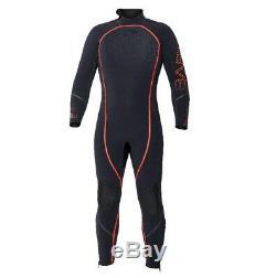 Bare 7mm Reactive Full Jumpsuit Men's Scuba Diving Dive Wetsuit Black/Red LARGE