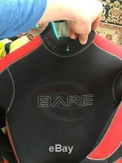 Bare 7mm Reactive Full Wetsuit Mens Scuba Diving Dive Suit Black/Red Large