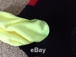 Bare Velocity 5MM Full Ergonomic Wetsuit Mens Large, Black/Red 5/4MM