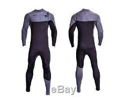 Chest Zip 4/3 Wetsuit Mens 4/3mm Black Gray Neoprene Front Zipper Surf Dive New
