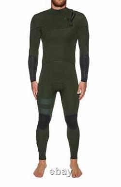 HURLEY Men's 3/3 ADVANTAGE MAX Zip Free Wetsuit Green Large Short LAST ONE