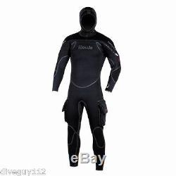Hollis Neotek 8/7/6mm Semi-Dry Hooded Full Scuba Diving Wetsuit Men's Black NEW