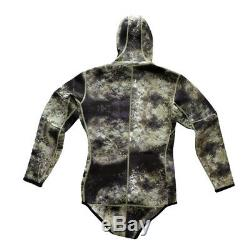 Men Camouflage Wetsuit Two-piece Scuba Diving Snorkel Suit Surf Swimwear L