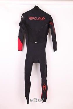 Men's Rip Curl E Bomb Pro 3/2 MM Wetsuit Sz Large Black Red Chest Zip Full Suit