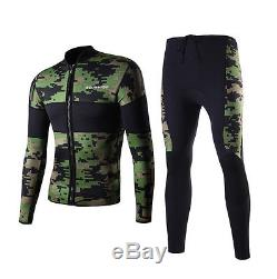 Mens Green Camo Wetsuit Jacket Surf 2 Piece Full Length Wetsuits 2.5mm Neoprene