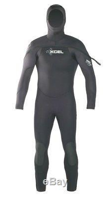 Mens XCEL Hydroflex Hooded Wetsuit 8/7/6 Size Large Black Scuba Diving Wetsuit