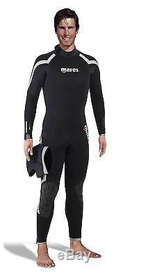 NEW! Mens 7 mm Mares PIONEER Scuba Dive Semi Dry Backzip Wetsuit + Hood