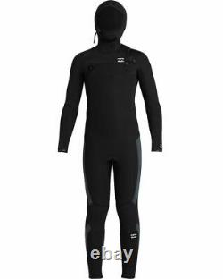 New $170 Junior Billabong 504 ABSOLUTE Hooded Wetsuit 5/4m Black Size 8 10 12 14