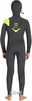 New $245 Junior Billabong 504 Furnace Pro Hooded Wetsuit 5/4mm Black Size 14