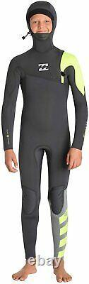 New $245 Junior Billabong 504 Furnace Pro Hooded Wetsuit 5/4mm Black Size 14 16
