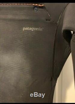 Patagonia R4 Men's Large Hooded Front Zip Wetsuit Black Wool lining