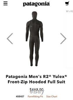 Patagonia Wetsuit R2 New Surf Hooded Full Mens Yulex FZ L Large Black Msrp $489