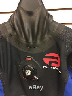 Pinnacle Drysuit Evolution Size Medium/Large, Boots Size 9 Black/Blue USED