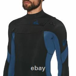Quiksilver 4/3mm Syncro Chest Zip Mens Surf Gear Wetsuit Black Iodine Blue