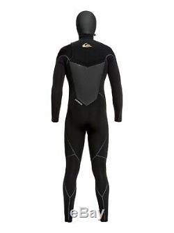Quiksilver 5/4/3mm Highline Plus Hooded Chest Zip Wetsuit Men's Large, Black