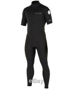 RIP CURL Men's 2mm AGGROLITE BZ S/S Wetsuit BLK Large Short NWT