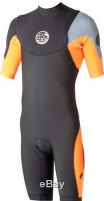Rip Curl E-Bomb Pro Short Sleeve Zip Free 2mm Mens Springsuit, ORG $179.99