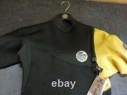Rip Curl Mens E-Bomb Pro 3/2mm Zipperless Wetsuit Yellow Easy Stretch LARGE