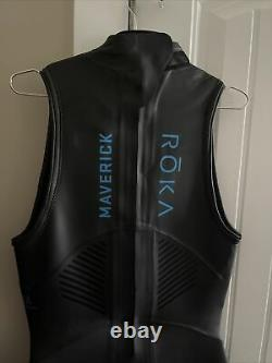 Roka Men's Maverick Pro II Sleeveless Wetsuit-black/cyan -large