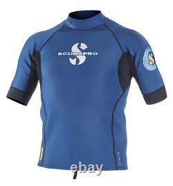 ScubaPro Everflex 1.5 Top-Mens Short Sleeve Aegean (Blue) Size L Large