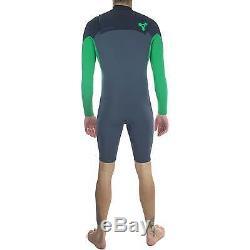 Xcel Mens Infiniti Comp L/S 2mm Wetsuit, Gunmetal/Green Spring Surf Suit